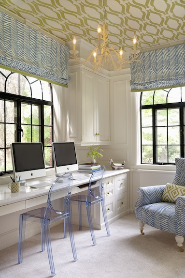 double home office, Annsley Interiors via Nursery Notations