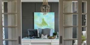 feature beautiful home office with board and batten and wood bead chandelier, Life on Virginia Street on Remodelaholic