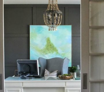 Home Office Makeover with DIY Wood Bead Chandelier