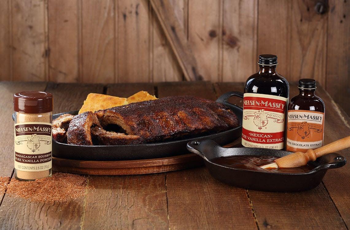 Sweet and Spicy Vanilla BBQ Rub plus BONUS Nielsen-Massey Signature BBQ Sauce