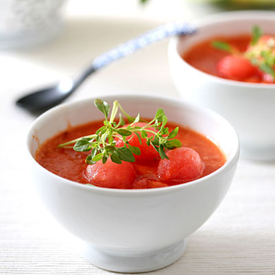 Chilled Tomato, Watermelon, and Basil Soup