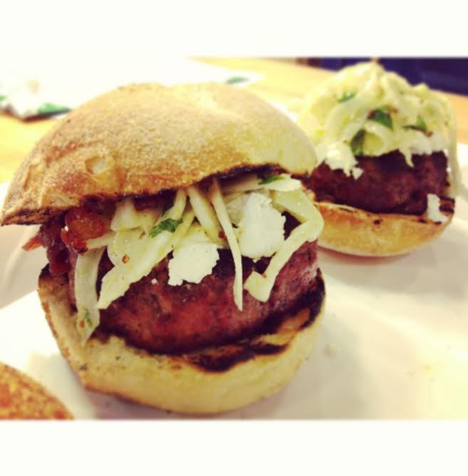 Lamb Burgers with Bacon Tomato Jam and Fennel Mint Slaw