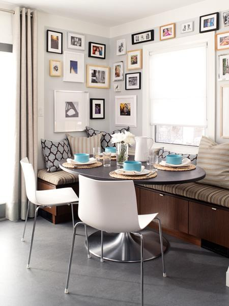 gallery wall corner banquette