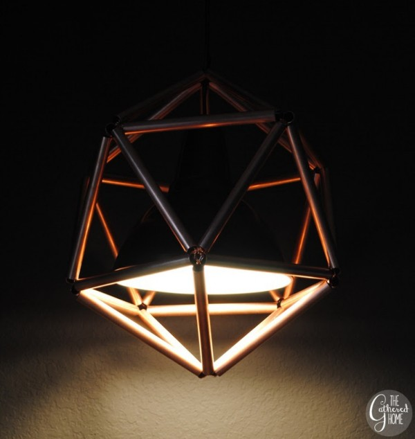 geometric icosahedron copper pipe pendant lamp, The Gathered Home on Remodelaholic