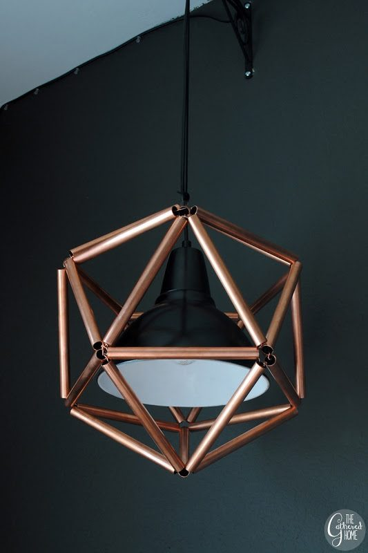 geometric icosahedron copper pipe pendant light, The Gathered Home on Remodelaholic
