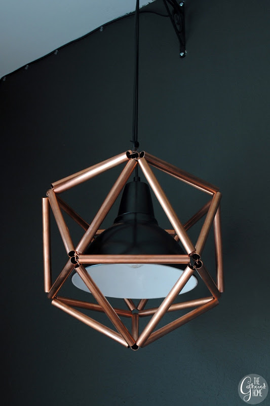 diy geometric icosahedron copper pipe pendant light the gathered home on