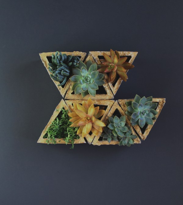 gilded gold modular geometric concrete planters, A Piece of Rainbow on Remodelaholic