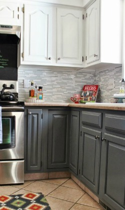 New grey and white kitchen makeover with tile backsplash