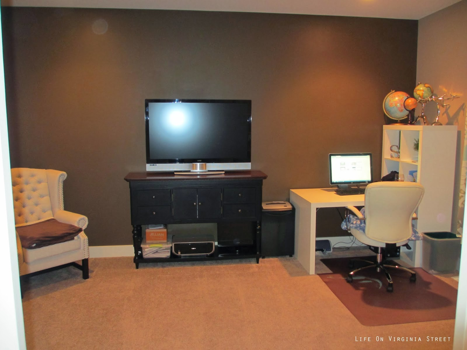 home office makeover with diy wood bead chandelier | remodelaholic