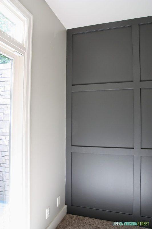 home office board and batten grid wall in Sherwin-Williams Urbane Bronze