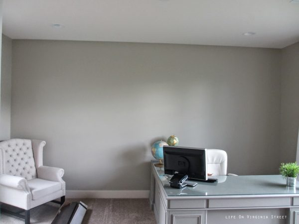 home office in Behr Castle Path gray, Life on Virginia Street on Remodelaholic