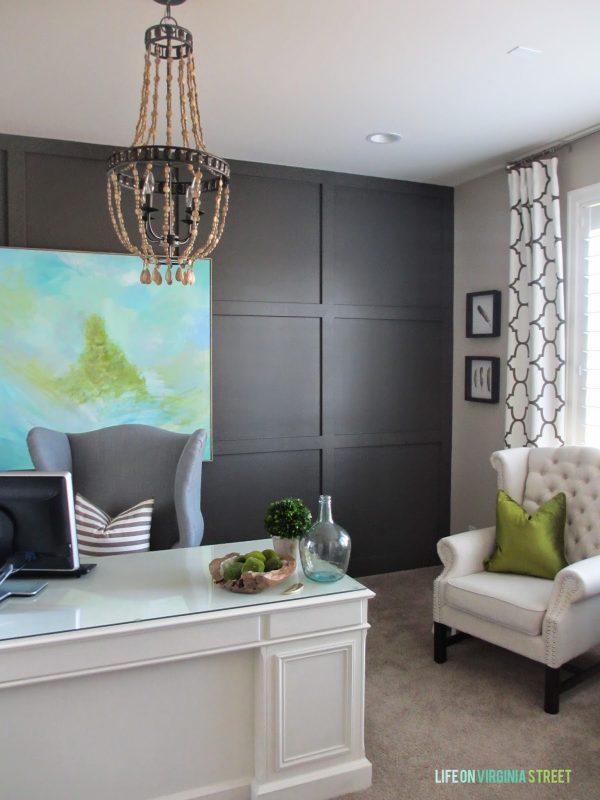 DIY Wood Bead Chandelier in Home Office   Life on Virginia Street on Remodelaholic.com