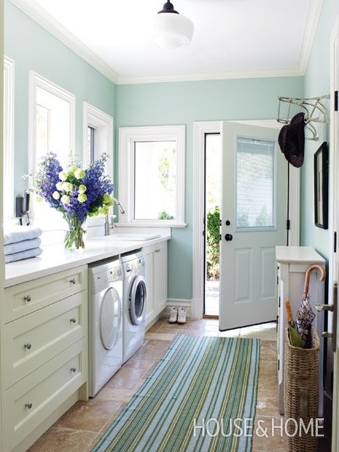 light filled laundry room mudroom combo featured on Remodelaholic.com by House & Home