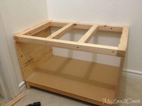 master closet bench ready for top, My Love 2 Create on Remodelaholic