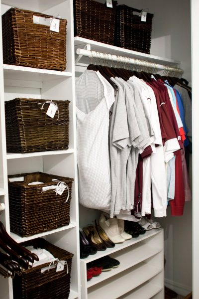 master closet makeover with baskets on Remodelaholic.com
