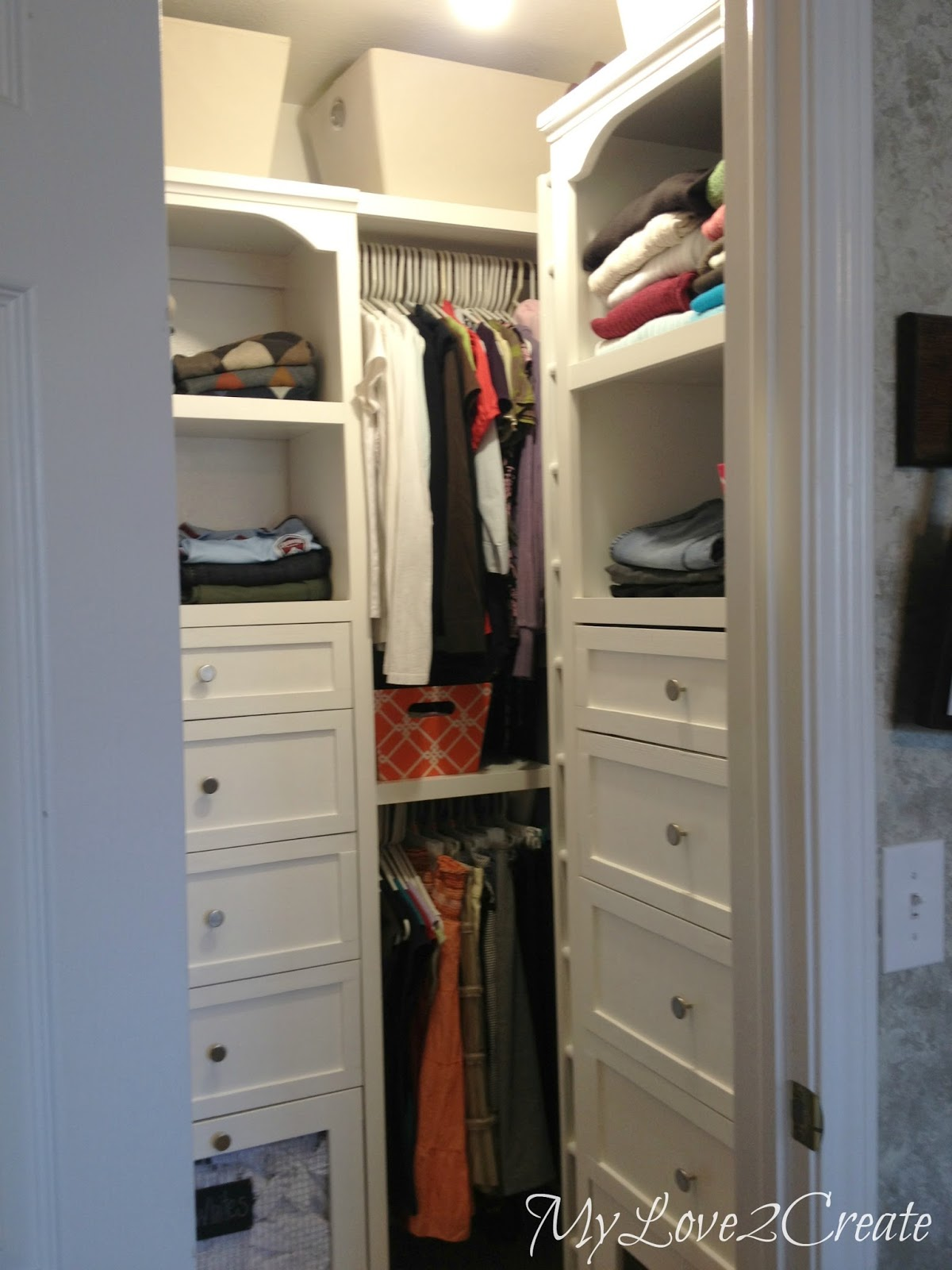 Good Master Closet Makeover With Drawers And Tower Shelves My Love Create  On With Creating A Walk In Closet