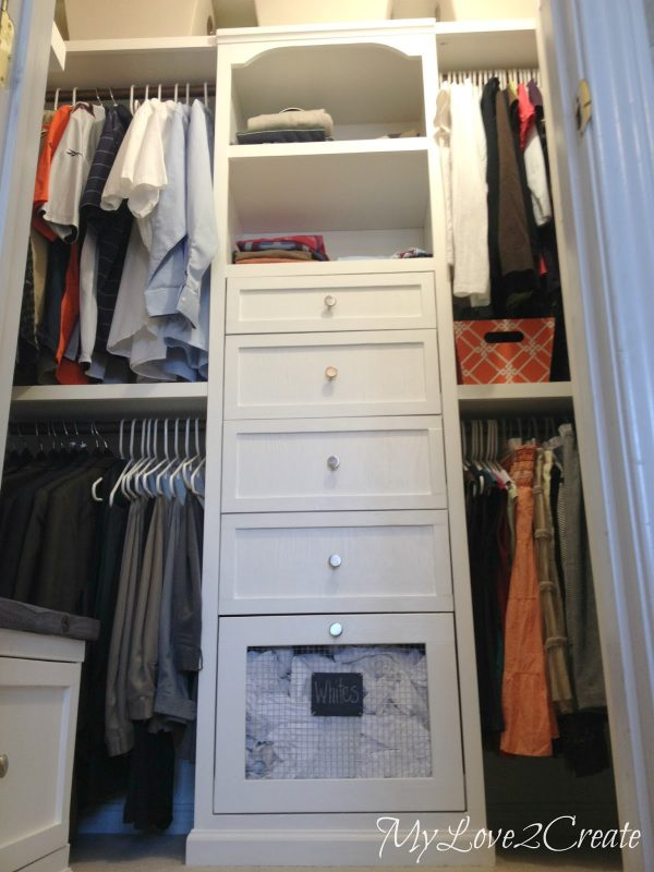 master closet makeover with laundry hampers and storage tower, My Love 2 Create on Remodelaholic