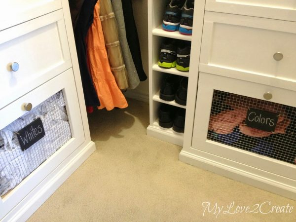master closet with built-in laundry hampers, My Love 2 Create on Remodelaholic