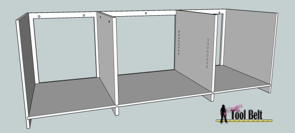 media center building plans - tv console assembly 1, Her Tool Belt on Remodelaholic