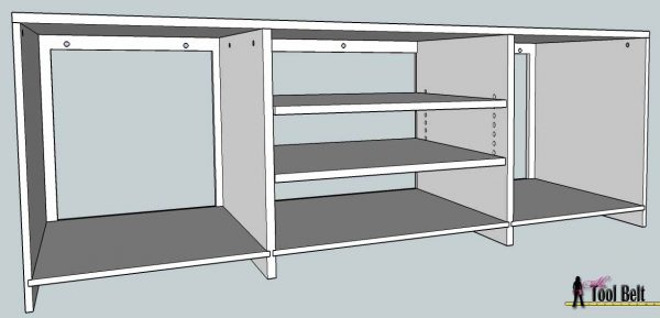 media center building plans - tv console assembly 2, Her Tool Belt on Remodelaholic