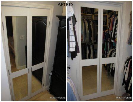 mirrored door closet makeover