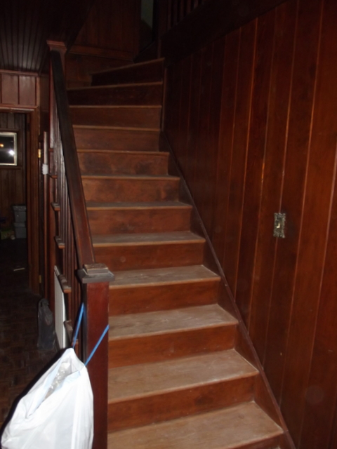 painted staircase before makeover, Chapter37 on Remodelaholic