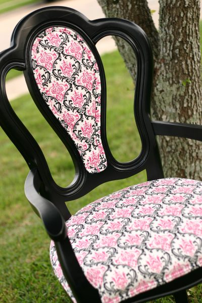 Reupholster chair centerRemodelaholic   How To  Reupholster a Tub Chair. Recover A Round Chair Seat. Home Design Ideas