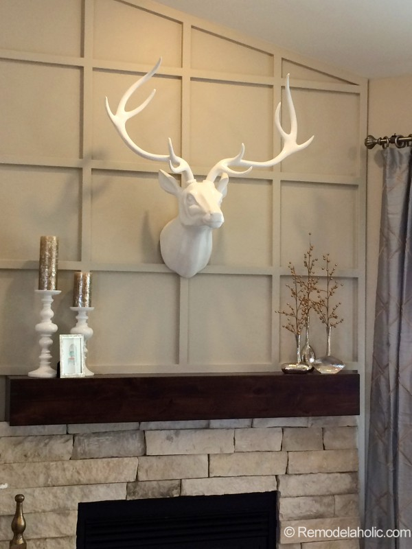 Fireplace Wall Treatment with deer head