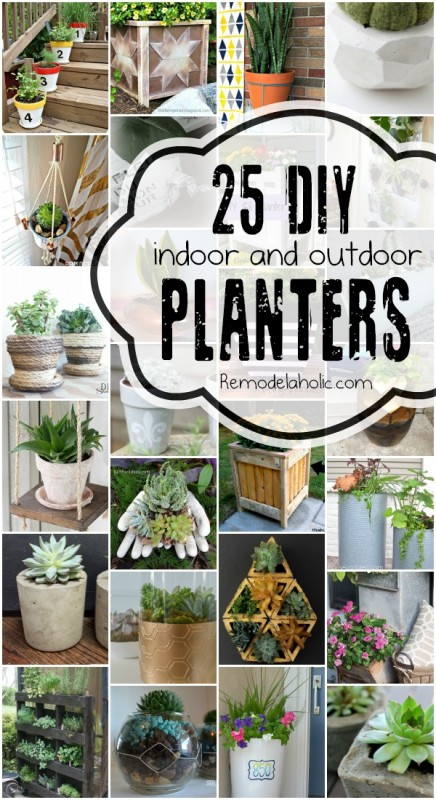 25 DIY Planters for Indoors and Outdoors via Remodelaholic.com