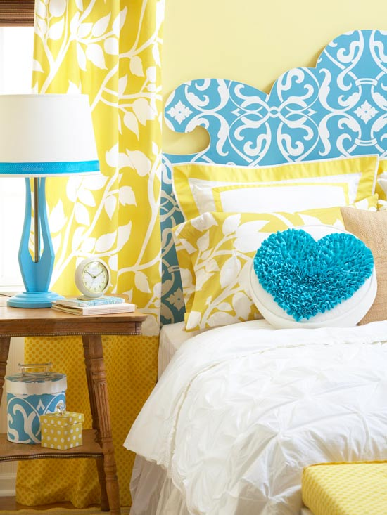BHG bright bedroom curvaceous headboard on Remodelaholic.com