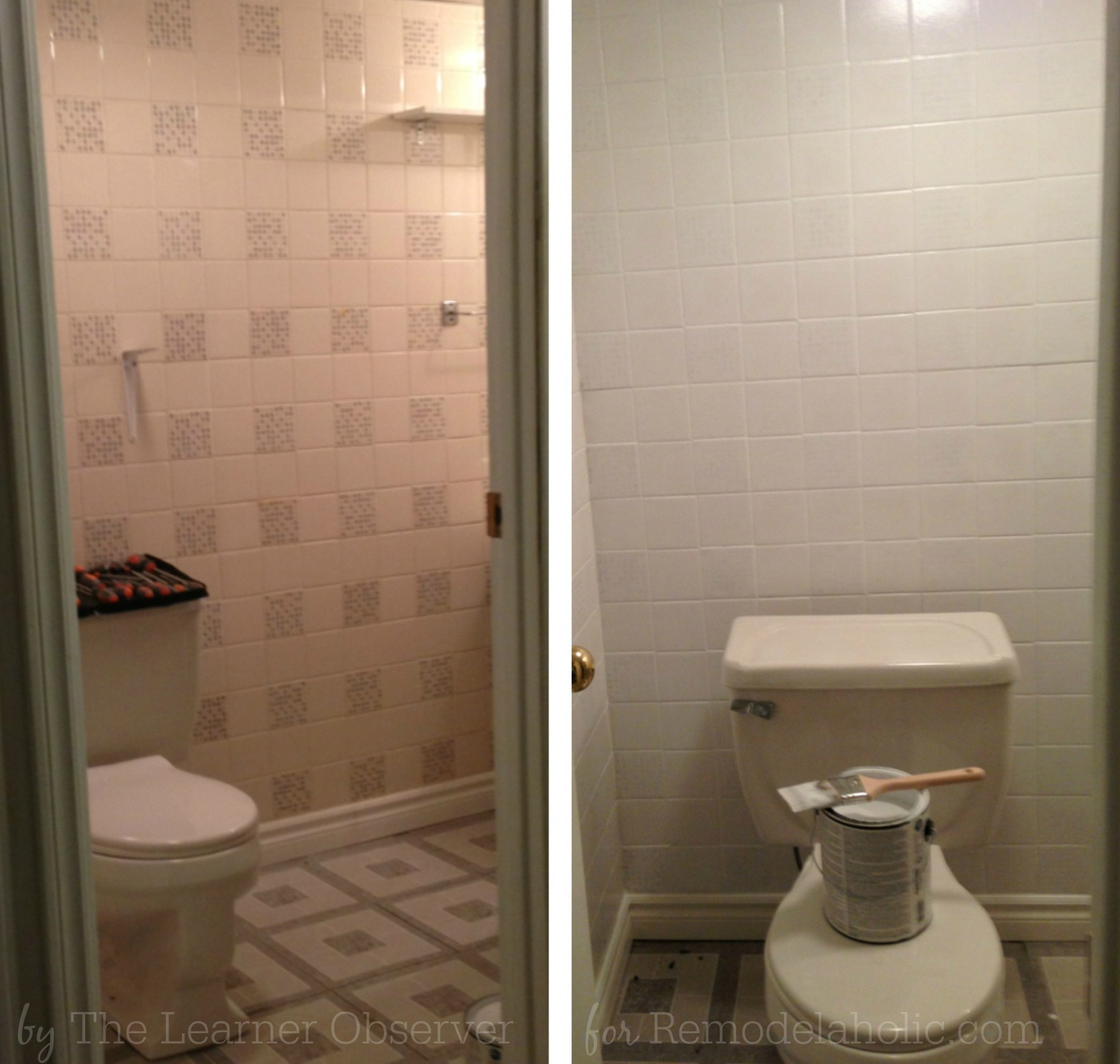Remodelaholic a 170 bathroom makeover with painted tile for How to paint bathroom wall tile