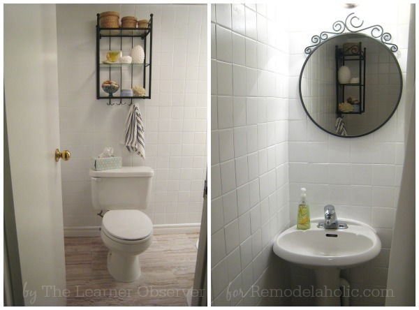 DIY Guest Bath Makeover for under $170 on Remodelaholic.com