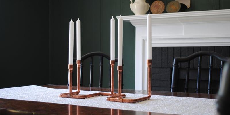 DIY Copper Pipe Candelabra