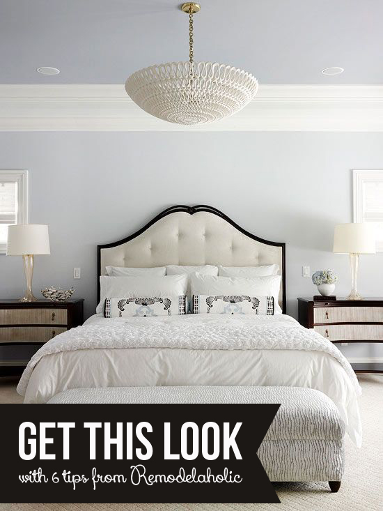 Get This Look: Tips for a Calm White Bedroom via Remodelaholic.com #getthislook #masterbedroom