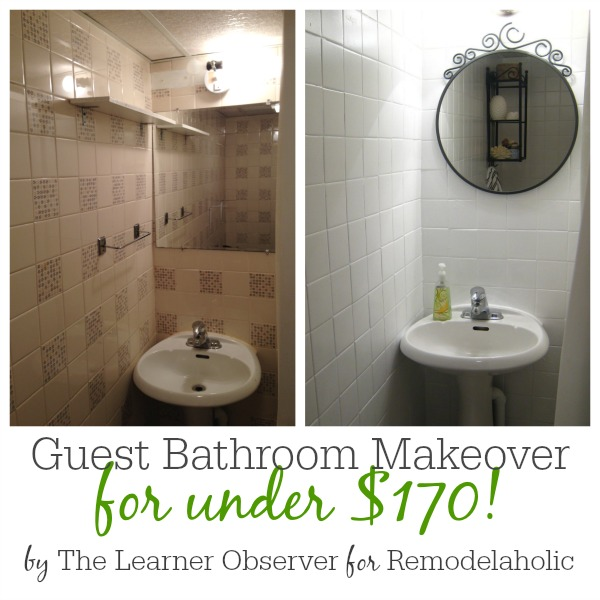 Remodelaholic A 48 Bathroom Makeover With Painted Tile Inspiration Can I Paint Bathroom Tile