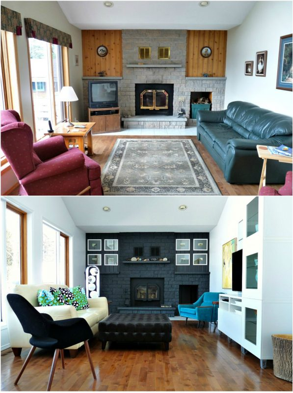 Living Before and After with Dark Painted Fireplace, Dans le Lakehouse on Remodelaholic