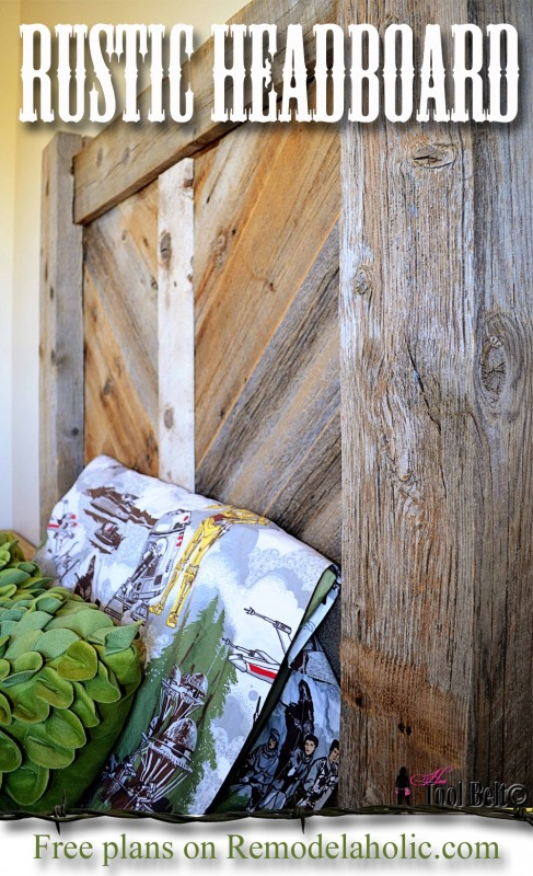 Rustic chevron headboard - free plans on Remodelaholic.com #DIYproject #headboard #reclaimedwood @Remodelaholic