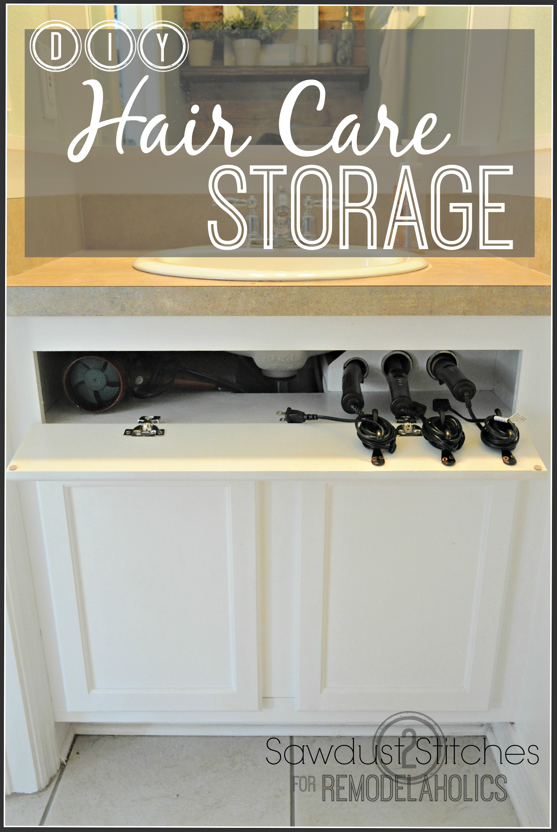 Remodelaholic Diy Under The Sink Hair Tool Storage
