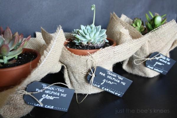 burlap terra cotta planter gift