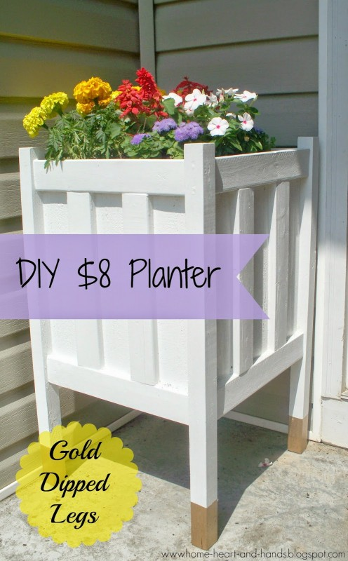 diy gold-dipped porch planter