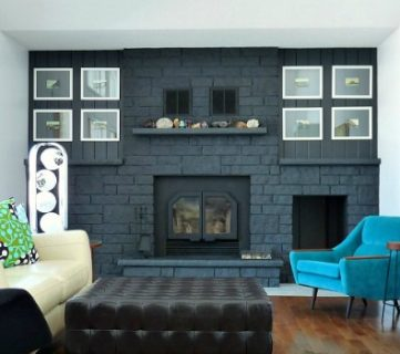 Dark Gray Painted Fireplace Focal Wall