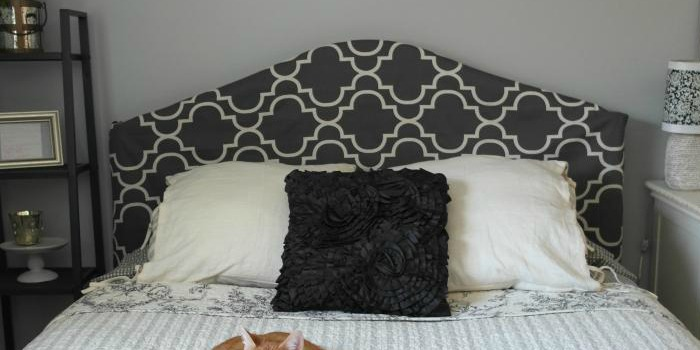 Remodelaholic Easy No Sew Headboard Slipcover Tutorial