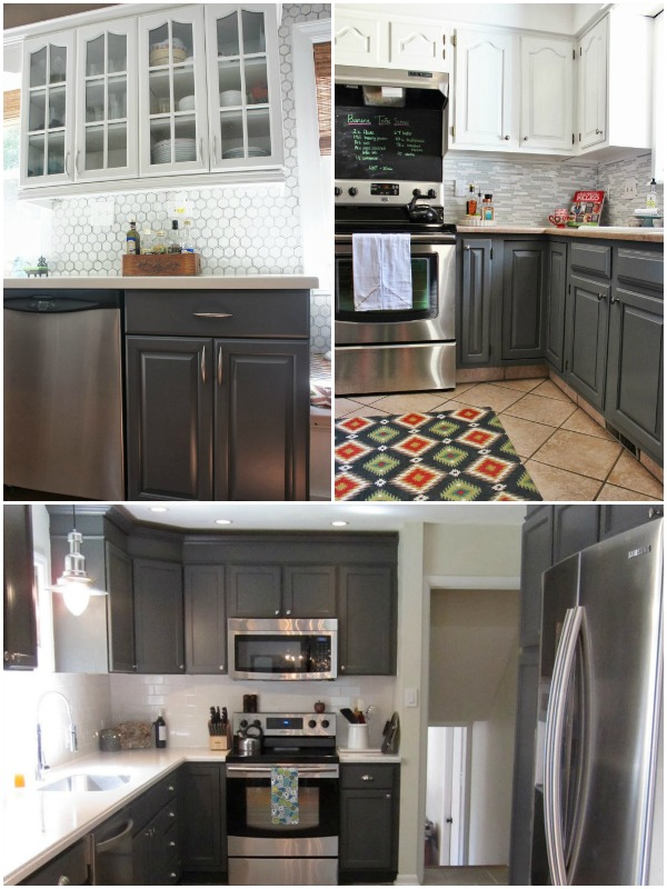 Gray Painted Kitchen Cabinets, featured on Remodelaholic