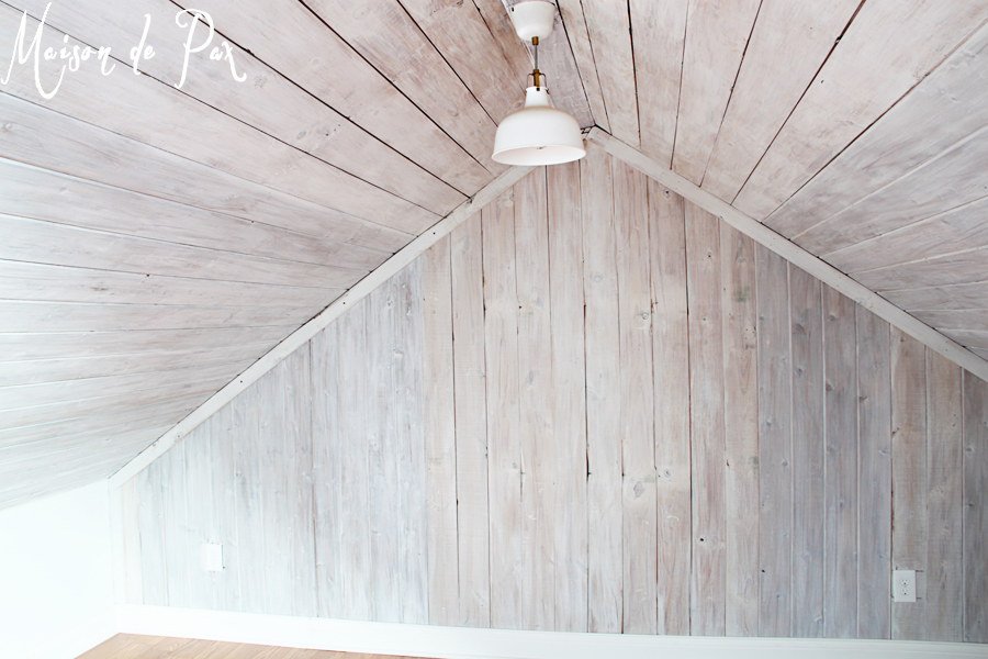 Remodelaholic | How to Whitewash a Plank Wall and Ceiling
