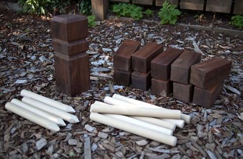 DIY outdoor kubb game