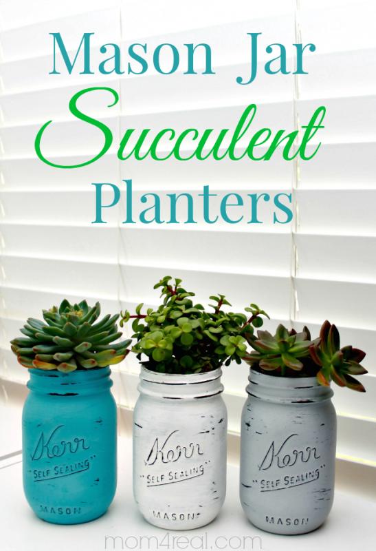 painted mason jar succulent planters