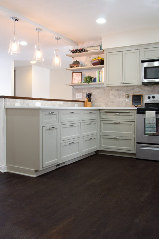 Remodelaholic remodeled kitchen with refinished hardwood for Wood floors in kitchen