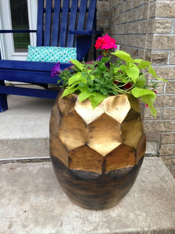 side table turned flower planter