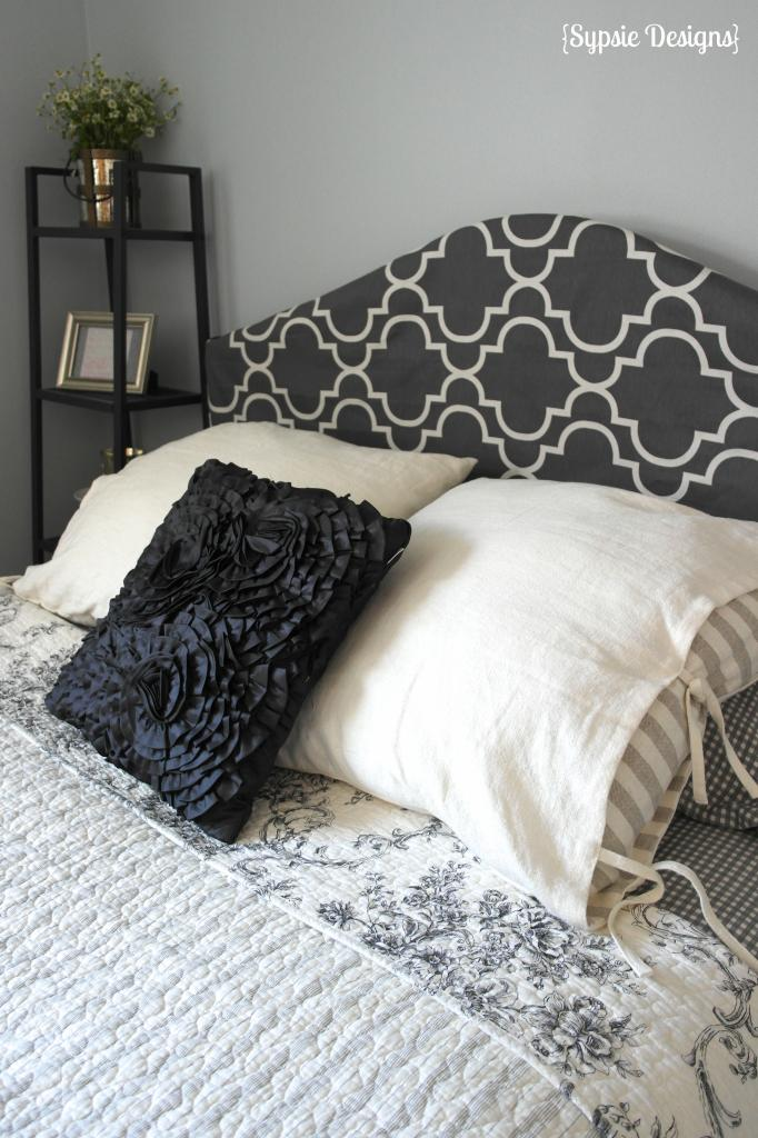 tutorial for a no-sew fabric headboard slipcover, Sypsie Designs on ...