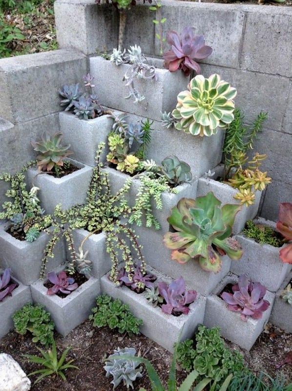 V Cinder Block Succulent Planter